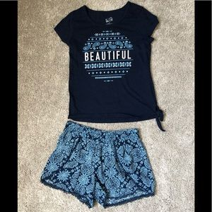 Girls Matching S/S Tee & Shorts (Size 12)